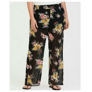 Torrid Wide Leg Pants Black Floral Chiffon 3X NWOT